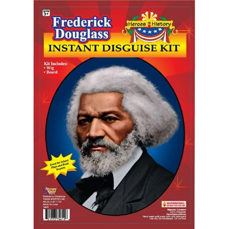 Frederick Douglass Black History School Report Wig Beard Costume Accessory Kit