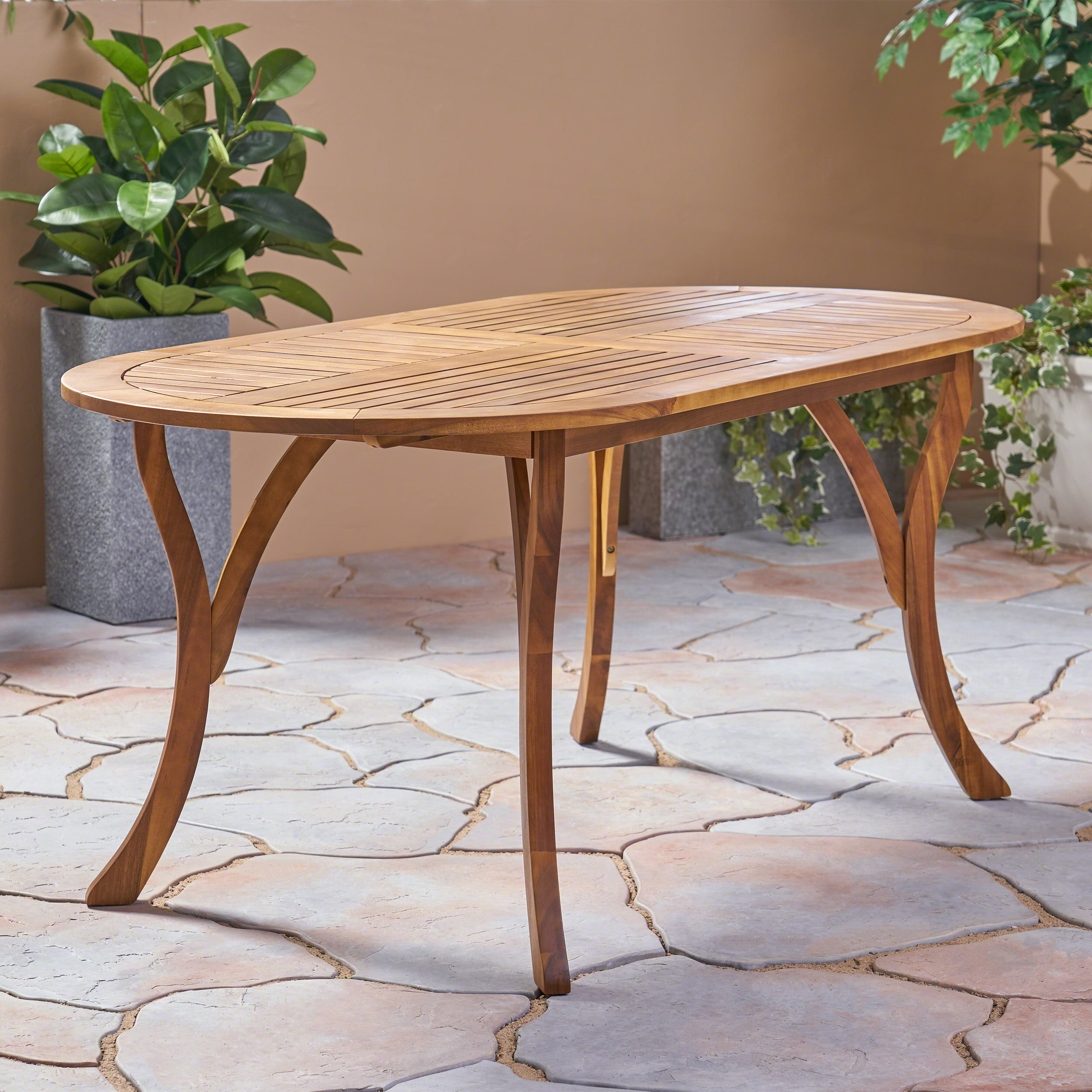 Skye Outdoor 70'' Acacia Wood Round Dining Table, Teak by Noble House