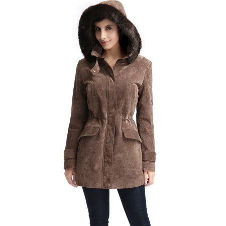 BGSD Women's Chloe Hooded Suede Leather Parka Coat (Regular & Plus (Womens Brown Leather Bomber Jacket With Hood)