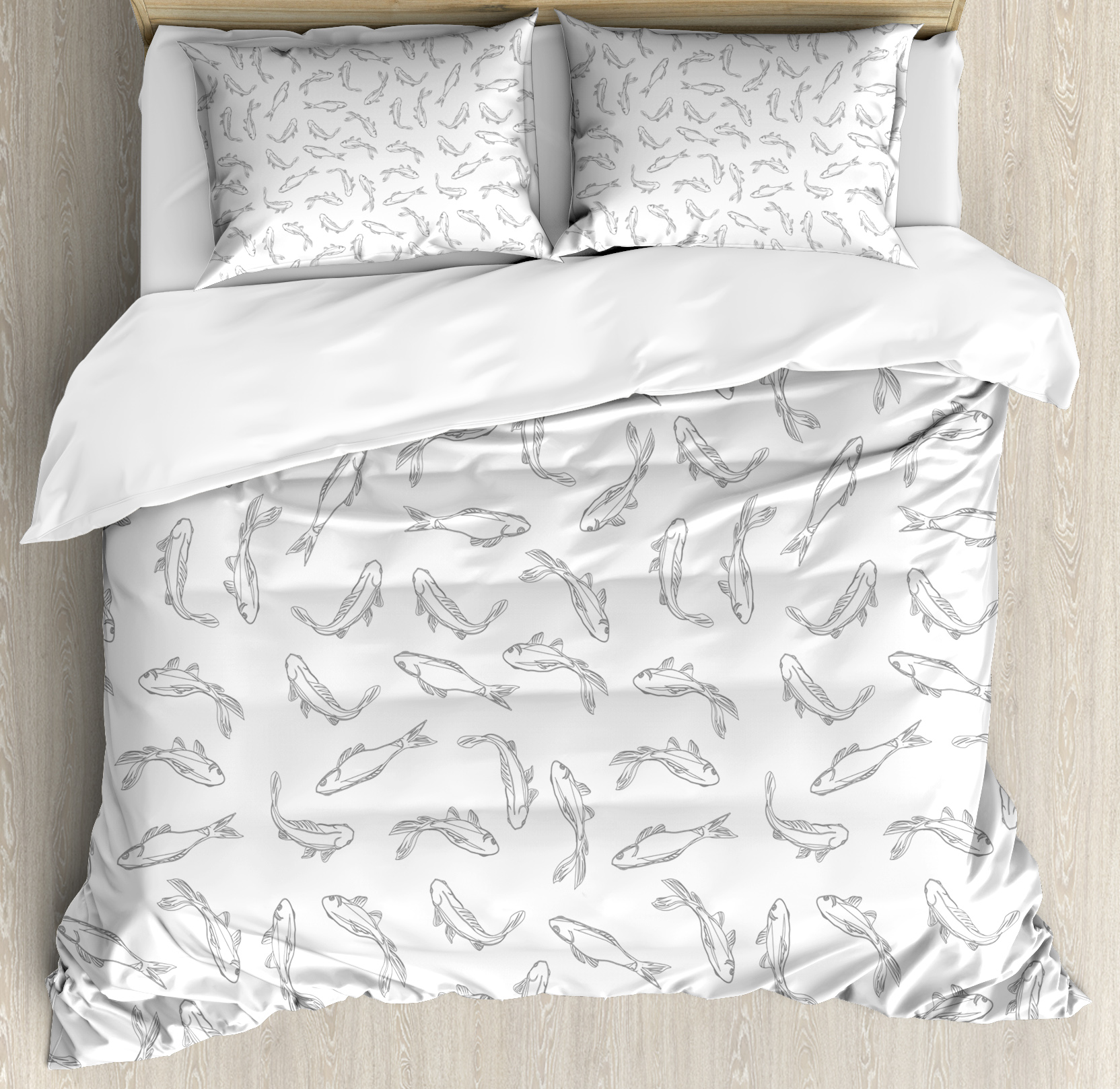 Grey and White King Size Duvet Cover Set, Fish Pattern ...