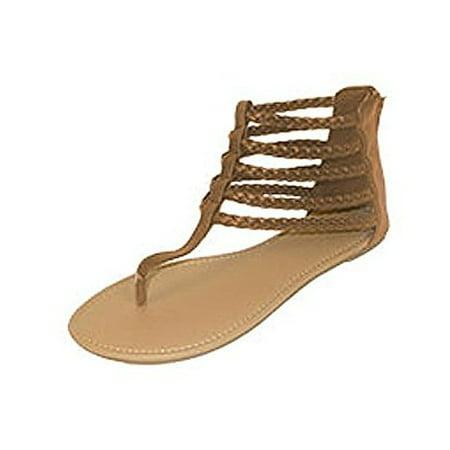 fad4acd86e08 P26 Womens Roman Gladiator Sandals Braided Flats Thongs Shoes (11 ...