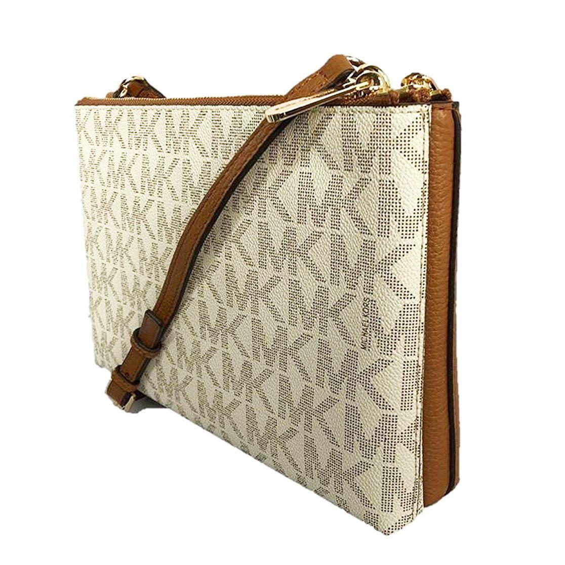 520864271635 NEW MICHAEL KORS JET SET DOUBLE GUSSET SIGNATURE VANILLA ACORN CROSSBODY BAG  - Walmart.com