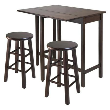 Lynnwood Drop Leaf Island Table with 2 Square Legs Stool (Walnut Tilt Top Table)