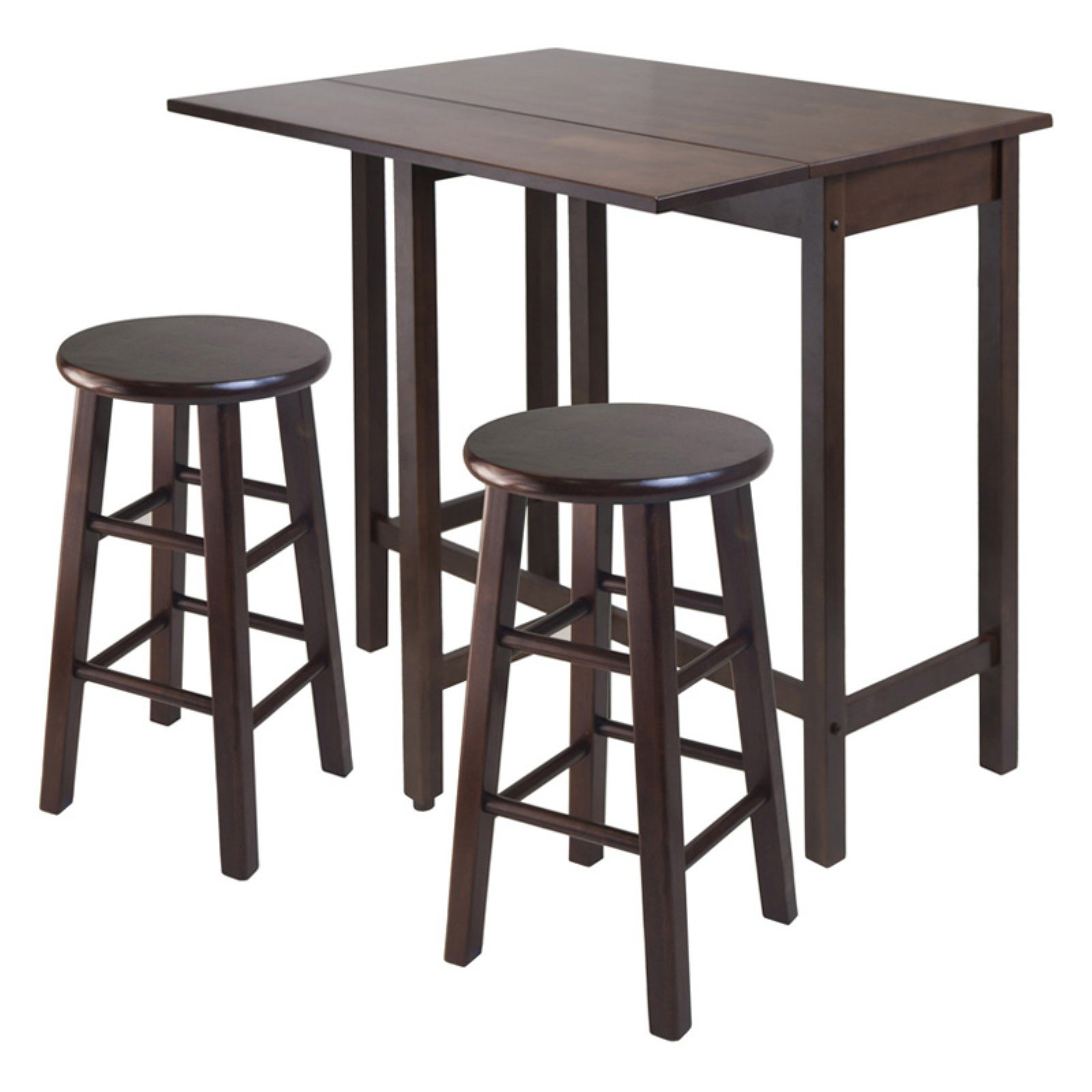 Lynnwood Drop Leaf Island Table with 2 Square Legs Stool Walnut