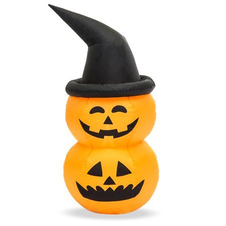 Best Choice Products 4ft Inflatable Witch Jack O'Lantern Pumpkin Halloween Decoration for Yard, Lawn, Party, Event w/ LED Lights, Internal Blower (Halloween Yard Displays)