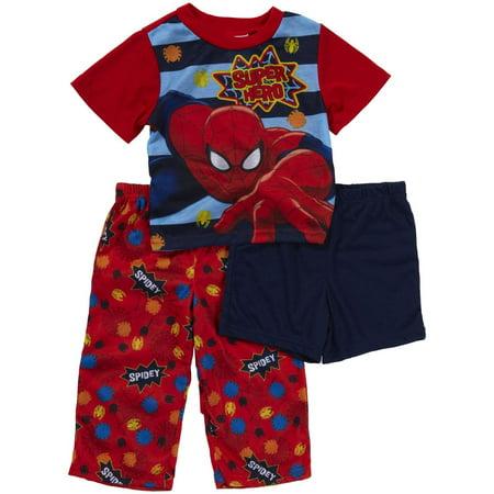 Spiderman Boys' 3 Piece Pajama Set (Toddler/Kid) , PJ Sizes - Spider Man 3 Piece