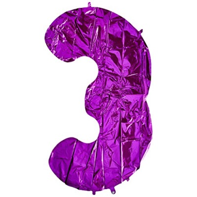 "Betallic Foil Balloon 15843PB Number 3 Megaloon, 40"", Purple"