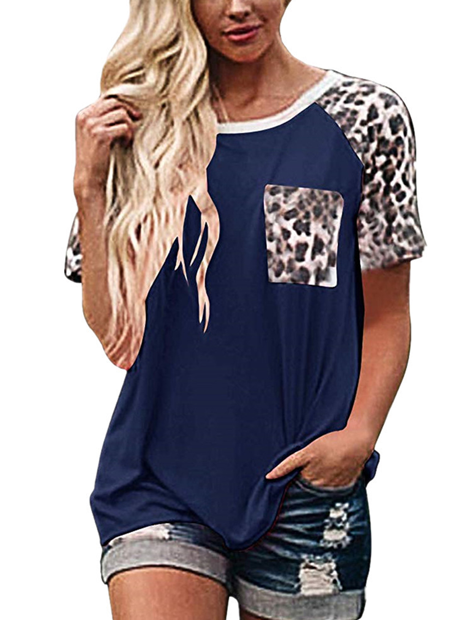 Womens Basic O Neck Long Sleeve T Shirts Summer Casual Leopard//Solid Color Pocket Blouse Tops