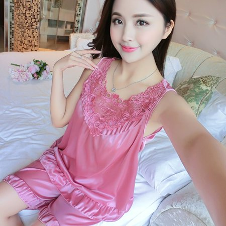 984559dd10a Sexy Women Sleepwear Set Sleeveless Ice-silk Sleepshirts Shorts Pajamas  Solid Color Casual Loose Summer ...