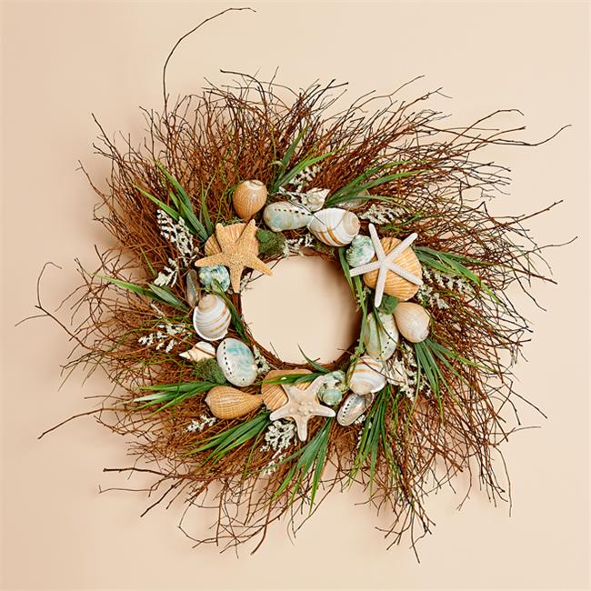 Harvest of Barnstable OW24 24 inch Twig Wreath With Aqua Shells And Starfish Ocean
