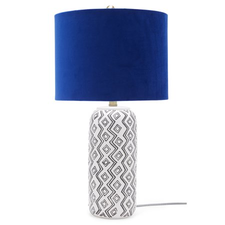 Zig Zag Table Lamp with Grecian Blue Velvet Shade by Drew Barrymore Flower Home ()