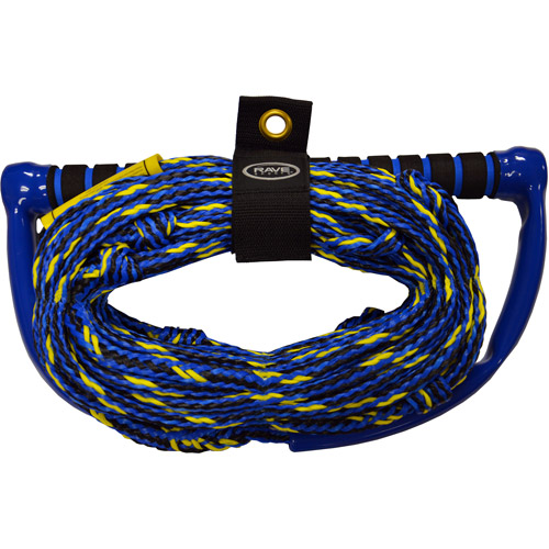 Rave Sport Ski and Tow Rope 70' 3 Section Wakeboard Kneeboard with EVA Swirl Grip Elite, Blue