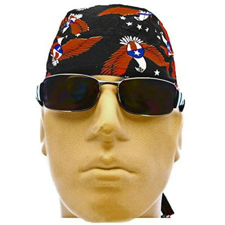 American Flag Patriotic Doo Rag Bald Eagle Durag Skull Cap Motorcycle Hat