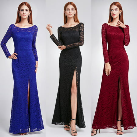Ever-Pretty Bridesmaid Dress Slit Lace Prom Evening Party Dresses with Long Sleeve 08883