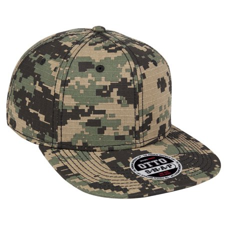 Otto Cap Digital Camouflage Cotton Ripstop Square Flat Visor 6 Panel Pro Style Snapback - Hat / Cap for Summer, Sports, Picnic, Casual wear and Reunion etc - The Hat Pros