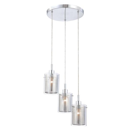 George Kovacs by Minka P963-077 3-Light Staggered Pendant - Chrome - 14W in.