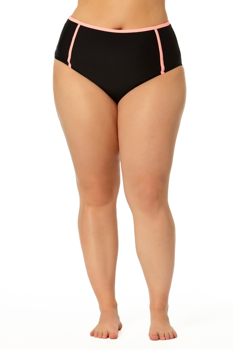 Allure Juniors Plus Size High Waist Hipster Swim Bottom