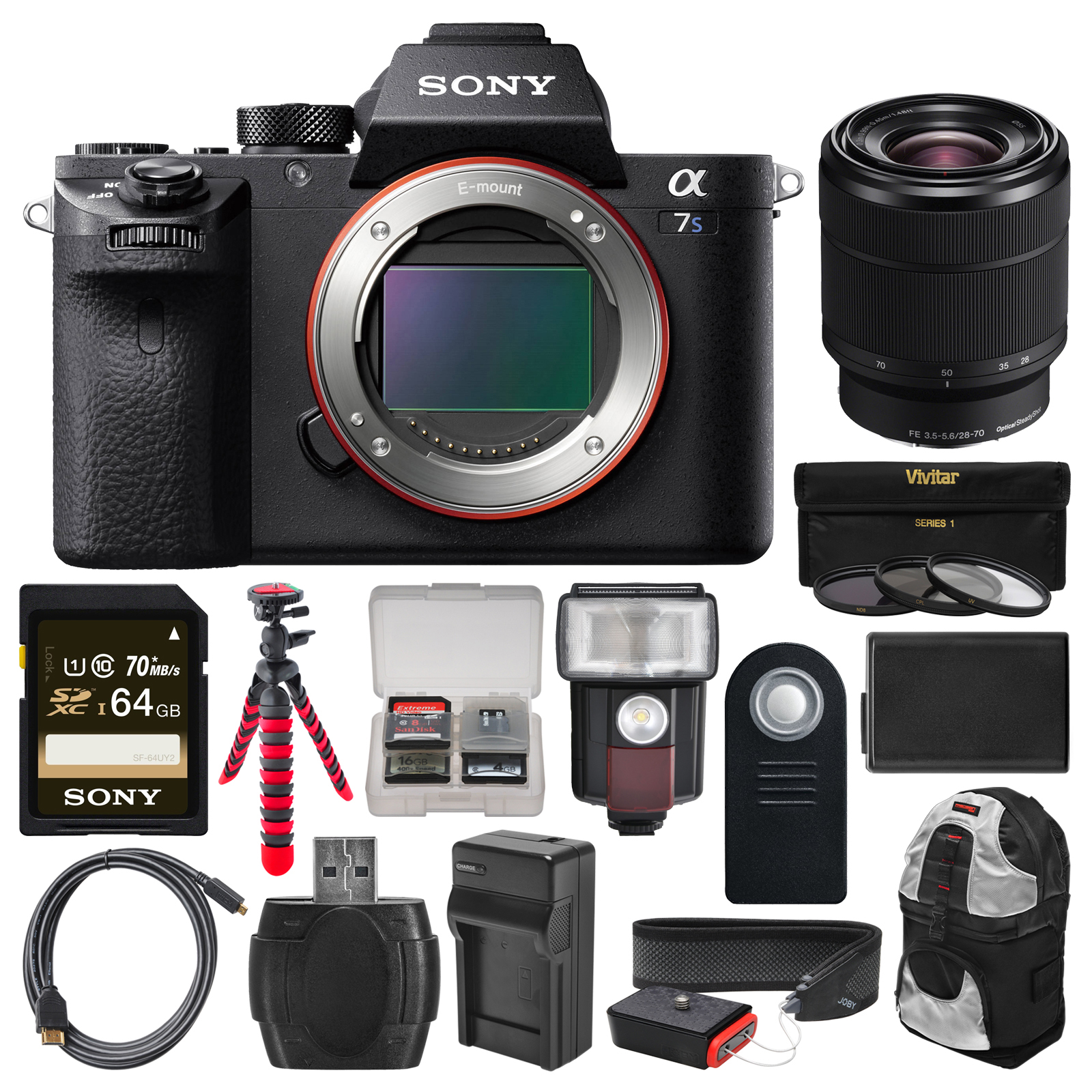 Sony Alpha A7S II 4K Wi-Fi Digital Camera Body with FE 28-70mm Lens + 64GB Card + Backpack + Flash + Battery &... by Sony