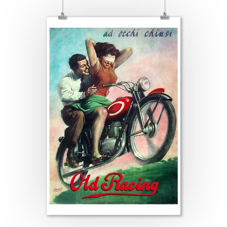 Old Racing - Ad Occhi Chiusi Vintage Poster  (9x12 Art Print, Wall Decor Travel Poster) - Racing Decor