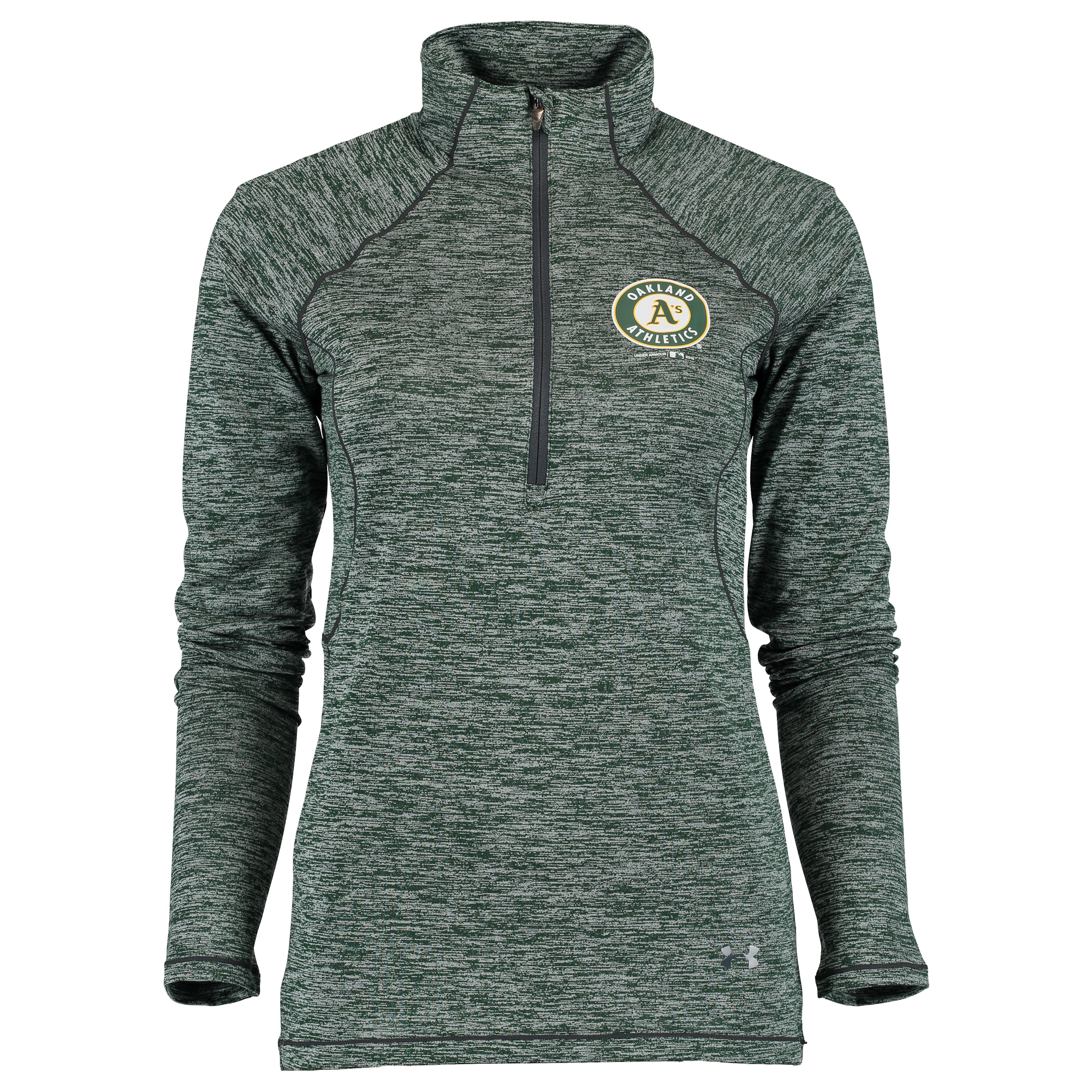 Oakland Athletics Under Armour Women's Twist Tech Performance Quarter-Zip Long Sleeve T-Shirt - Green/Gray