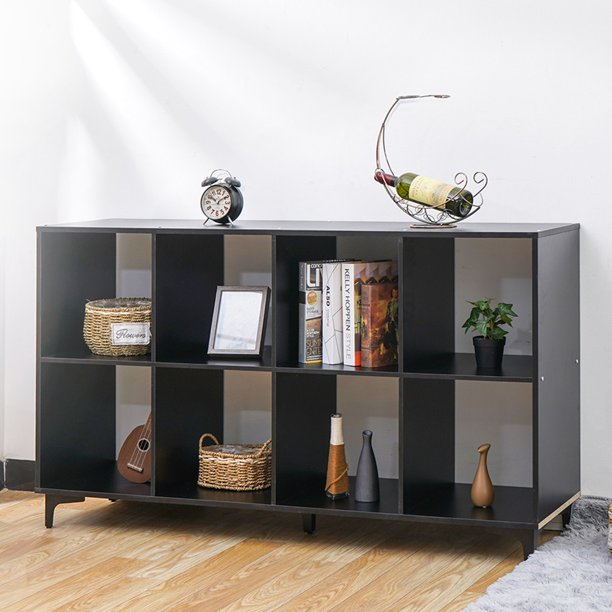 Insma Cube Storage Organizer with Metal Base, Bookshleves and Bookcase Bookshelf TV Stand Shelf, Black