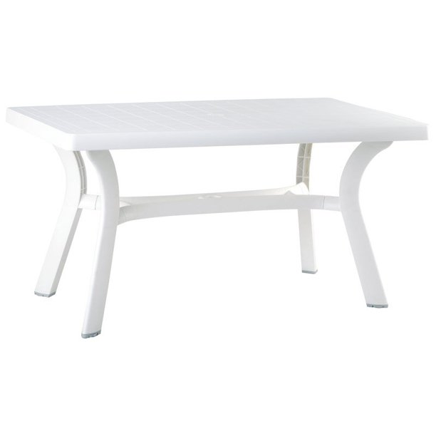 "Compamia Sunrise 55"" Resin Patio Dining Table in White"