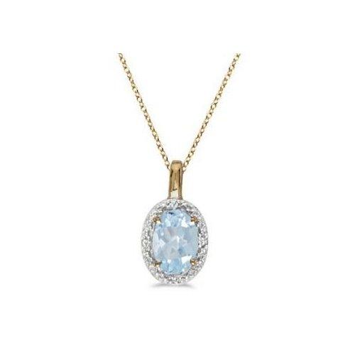Seven Seas Jewelers Oval Aquamarine & Diamond Pendant Necklace 14k Yellow Gold (0.40ctw) by Brand New