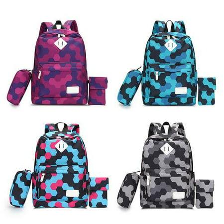 2 Pcs/Set Women Backpacks Nylon Design Backpack Schoolbag for Teenagers Girls Purple