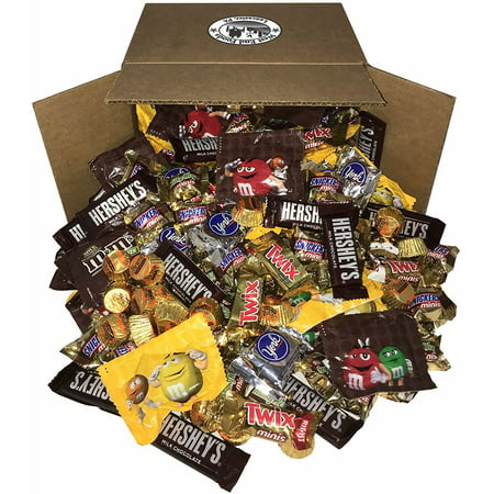 Chocolate Candy Assorted (8 Pounds) Snickers Bar, M&Ms Milk, Peanuts, Reese's, Milky Way, Twix, Hershey, York Mini Size Bulk Snacks for Halloween](Cheapest Place To Buy Halloween Candy)