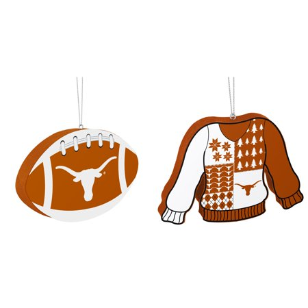NCAA Texas Longhorns Foam Christmas Ball Ornament Ugly Sweater Bundle 2 Pack By Forever Collectibles