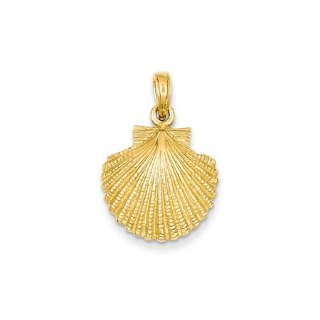 14kt Yellow Gold Scallop Sea Shell Mermaid Nautical Jewelry Pendant Charm Necklace Shore Fine Jewelry Ideal Gifts For Women Gift Set From