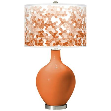 Color + Plus Celosia Orange Mosaic Giclee Ovo Table Lamp