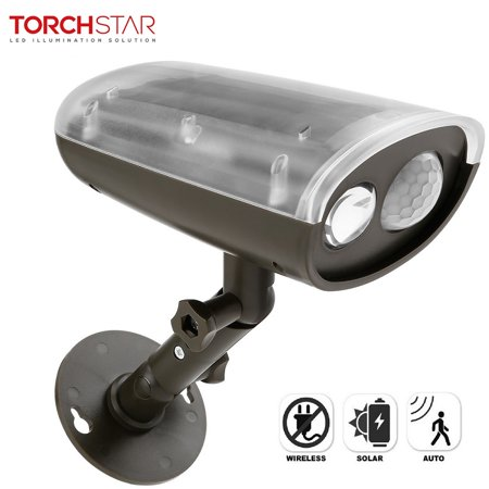 TORCHSTAR LED Solar Powered Outdoor Security Light with Motion Sensor, Waterproof Wireless Solar Wall