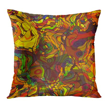 BOSDECO Colorful Abstract Rainbow Chaotic Waves in Glass Mosaic Gold Green Orange and Red Colors Watercolor Folk Pillowcase Pillow Cover Cushion Case 18x18 inch - image 1 of 1
