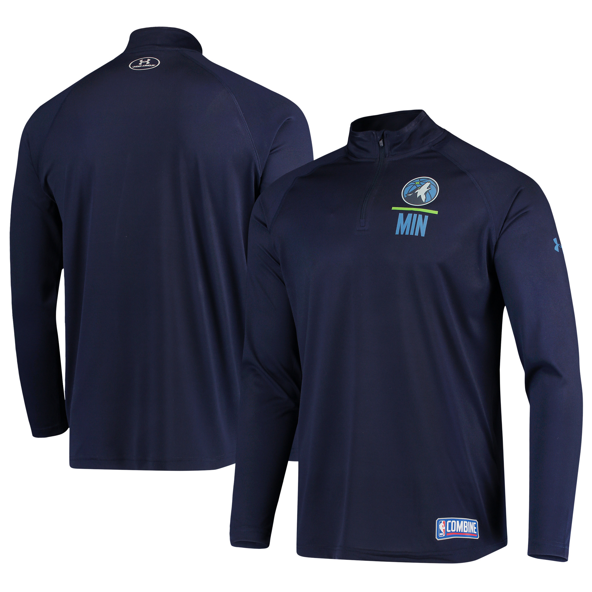 Minnesota Timberwolves Under Armour Combine Tech Quarter-Zip Performance Sweatshirt - Navy