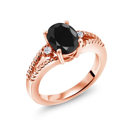 2.59 Ct Oval Black Sapphire White Topaz 18K Rose Gold Plated Silver Ring