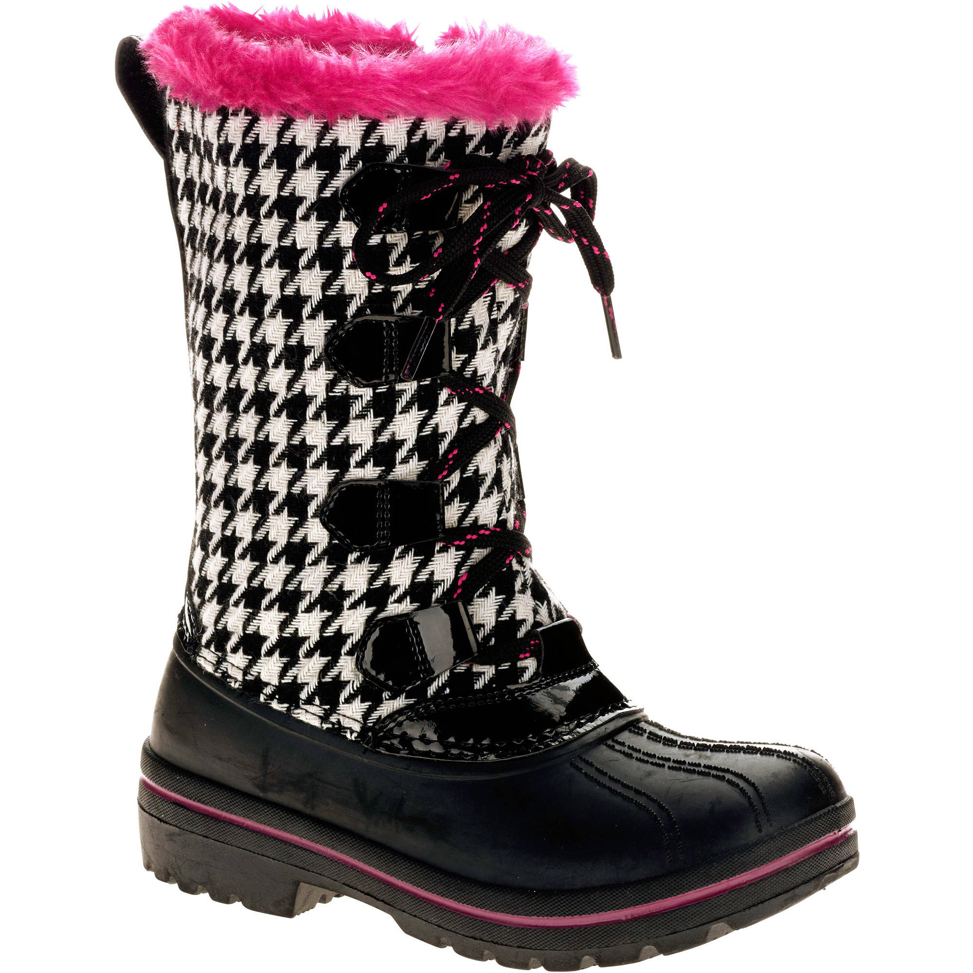 Ozark Trail Girls' Houndstooth Winter Boot - Walmart.com