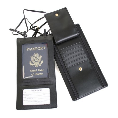 Royce Leather Security Passport Wallet - Black