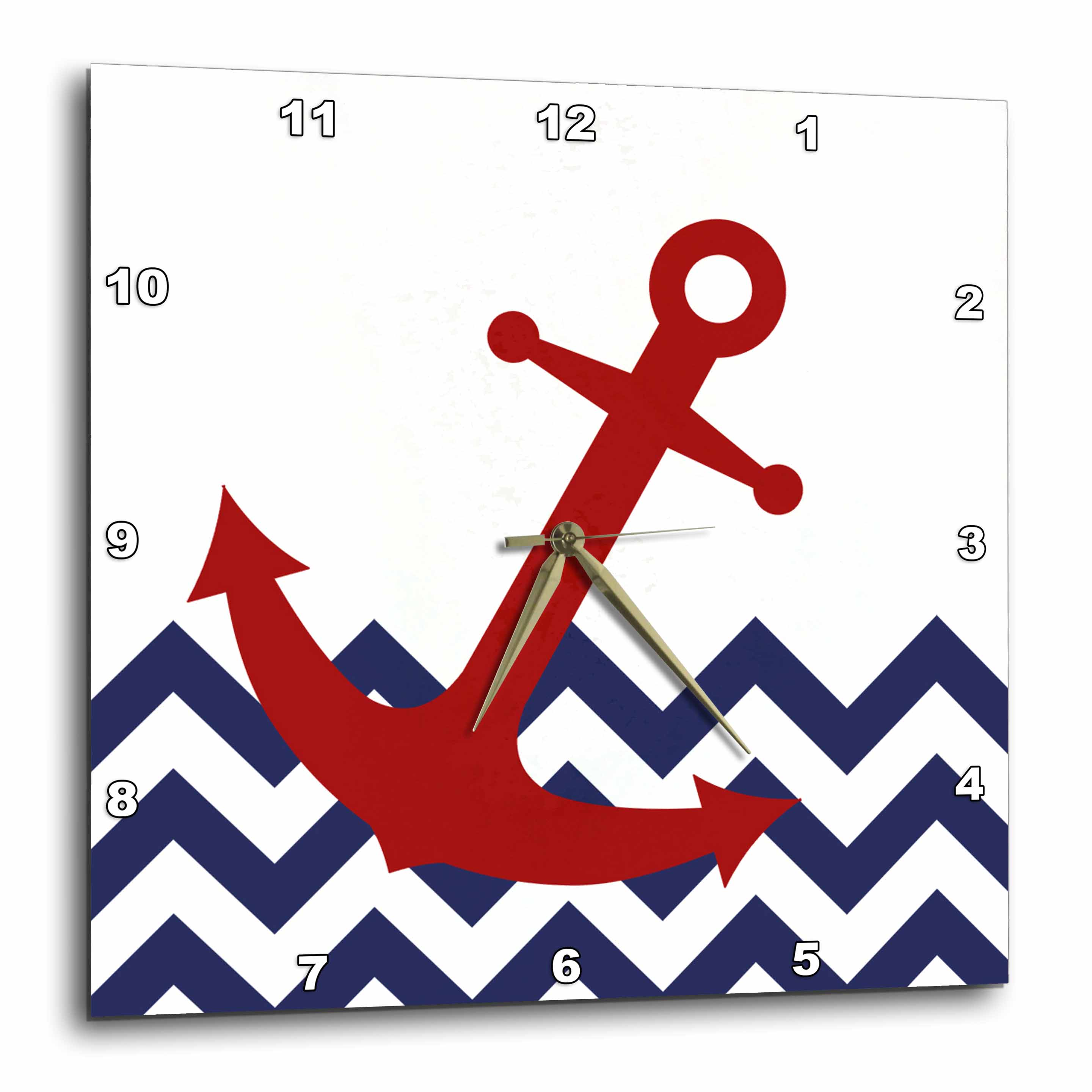 3dRose Red Nautical Boat Anchor on Chevron Pattern, Wall Clock, 15 by 15-inch