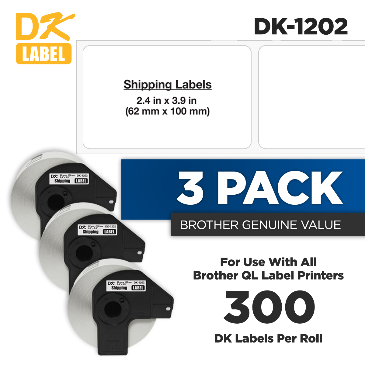 2 Roll 62mm Shipping Label For Brother DK-1202 DK1202 W//1 Frame QL-1060N QL-500