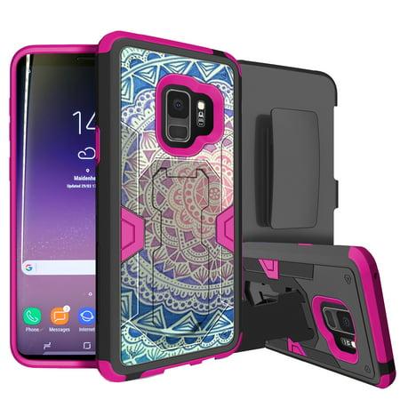 Samsung Galaxy S9 Rugged Defense Case by MINITURTLE [PINK MAX DEFENSE Case for Galaxy S9 SM-G960] Hybrid Silicone Case w/ Bonus Holster Belt-Clip & Built-in Kickstand Function - Mandala](Mini Turtles)