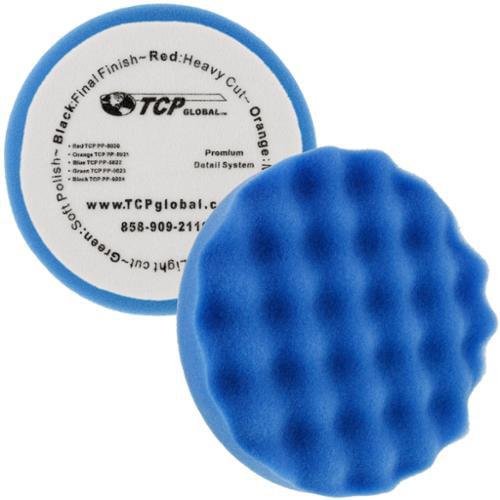 """6.5"""" Blue Waffle Light Cut Grip Foam Polish Buff Pad - DA Hook & Loop Car Detail"""