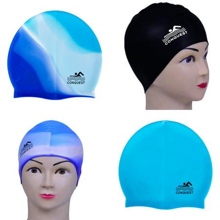 - Heepo Beach Pool Waterproof Silicone Swim Cap Adult Hair Protect Flexible Swimming Hat