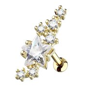 MoBody 16G Lined Cluster CZ Stars Large Star Center Tragus Earring Stud Surgical Steel Cartilage Helix Piercing (Gold-Tone Clear CZ)