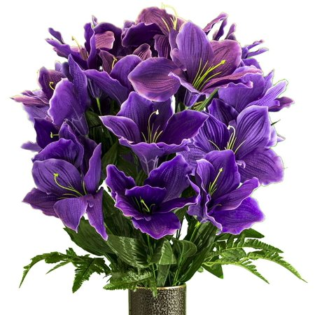 Purple Amaryllis, Artificial Bouquet, featuring the Stay-In-The-Vase Design(c) Flower Holder (MD2080)