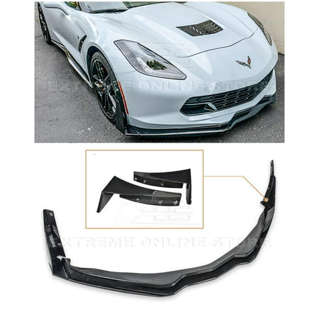 For 2014-2019 Chevrolet Corvette C7 | Z06 Style ABS Plastic Painted Carbon Flash Front Bumper Lip Splitter With Stage 3 Side Extension Winglets Pair
