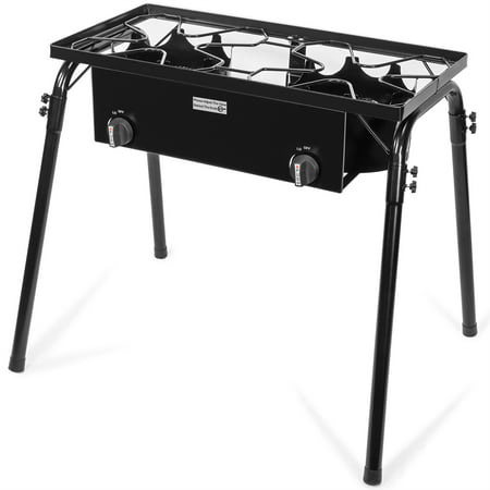 XtremepowerUS Propane Stove 2 Burner Gas Outdoor Portable Camping BBQ High Pressure Regulator