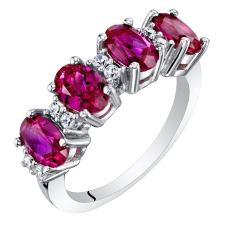 Sterling Silver Oval Cut Created Ruby Anniversary Ring Band 2 Cts