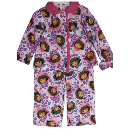 Little Girls Pink Dora The Explorer Heart Print 2 Pc Pajama Set 2T-4T