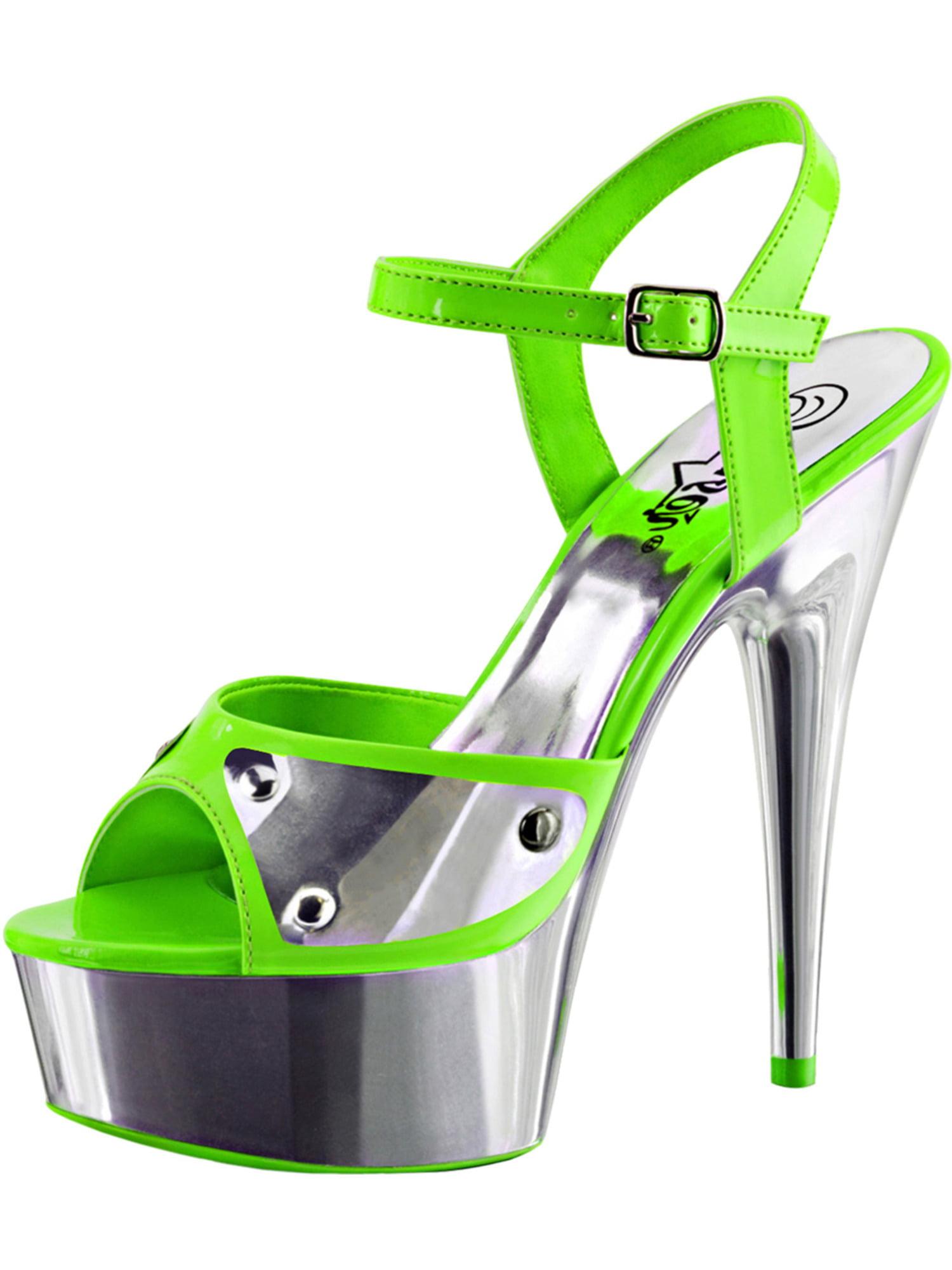 Womens High Heeled 6 Sandals Neon Green Blacklight Platform Sandals 6 Heeled Inch Heels bbf8a1